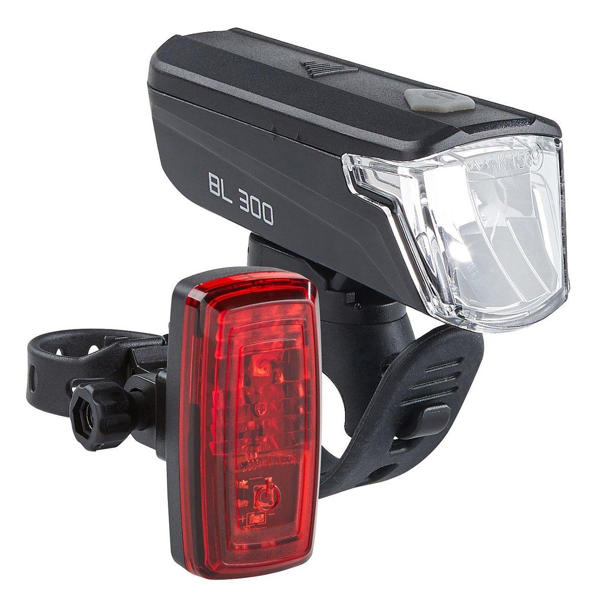 LED Fahrrad-Batterieleuchtenset StVZO Schwarz Batterie-Lampen-Set LED-Rücklicht